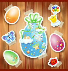 easter background with paper elements vector image
