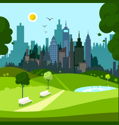 empty city park with skyscrapers on background vector image