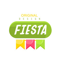 fiesta original logo design label with colorful vector image