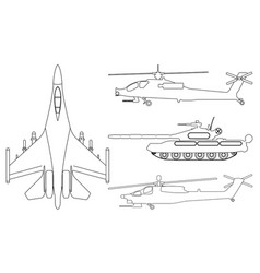 fighter aircraft tank helicopter outline vector image
