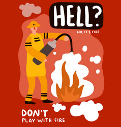 fire fighting flat poster vector image