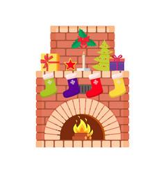 Fireplace fire burning inside brick arch vector