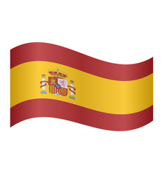 flag of spain waving on white background vector image