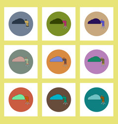 Flat icons set of water crane concept on colorful vector