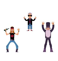 flat rock music people set vector image