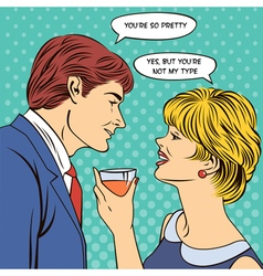 Flirting Couple Man Flirts with a Woman Pop Art vector image