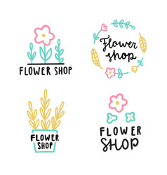 Flower shop logotype set vector