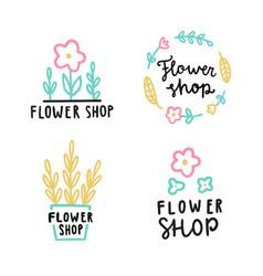 flower shop logotype set vector image