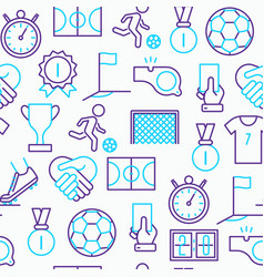 football seamless pattern with thin line icons vector image