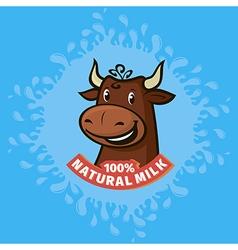 fresh natural milk emblem vector image