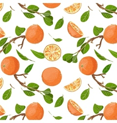 Fresh Oranges and Leaves Seamless Pattern vector image