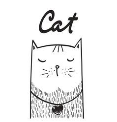 funny cat print vector image
