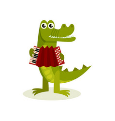 funny humanized crocodile playing accordion green vector image