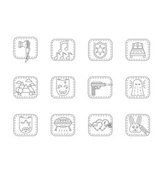 Genres of cinema flat line icons set vector