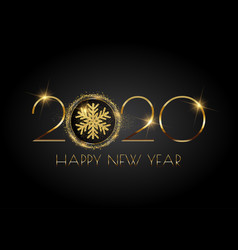 glittery happy new year background with snowflake vector image
