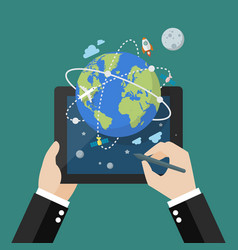 global network connection from tablet vector image