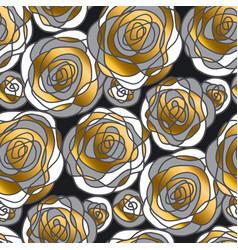 golden rose concept flowers seamless pattern vector image