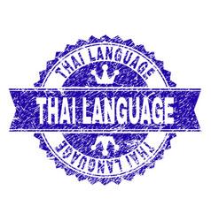 Grunge textured thai language stamp seal with vector