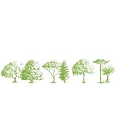 Hand drawn tree pattern vector