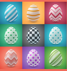 happy easter cartoon set egg icon vector image