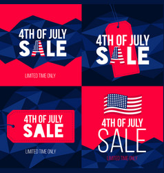 happy independence day usa set cards with usa vector image