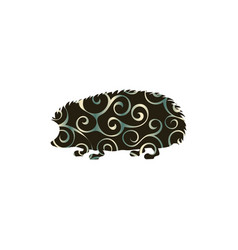 hedgehog wildlife color silhouette animal vector image
