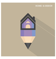 Home icon and pencil symbol in flat design vector
