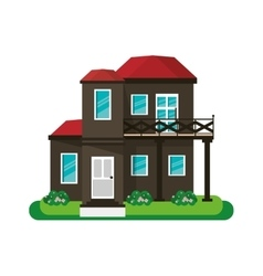 House with balcony red roof garden design vector