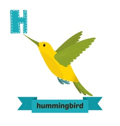 Hummingbird H letter Cute children animal alphabet vector image