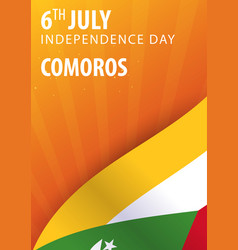 independence day of comoros flag and patriotic vector image