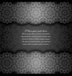 Invitation card with mandala border black lace vector