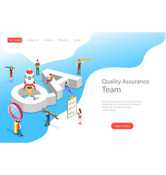 Isometric flat landing page template qa vector