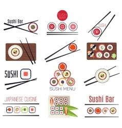Japanese sushi bar or restaurant menu set vector