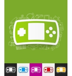 joystick paper sticker with hand drawn elements vector image