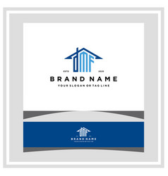 Letter dmf home roof logo design and business card vector