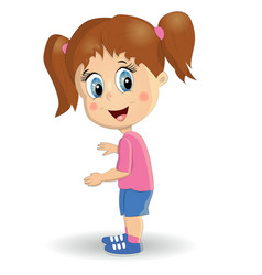 little cute girl cartoon style of a happy child vector image