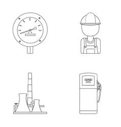 Manometer worker oilman fuel refueling oil vector