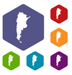 Map of argentina icons set hexagon vector