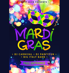 mardi gras hand drawn sign and traditional colors vector image