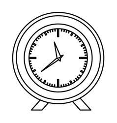 Monochrome contour with desk clock vector