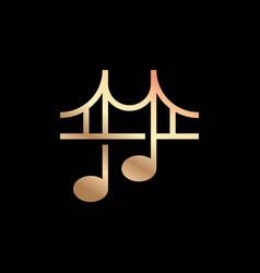 Music notes bridge logo design template vector