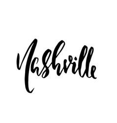 nashville usa typography dry brush lettering vector image
