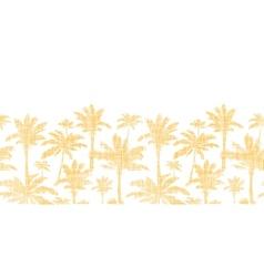 Palm trees golden textile horizontal seamless vector