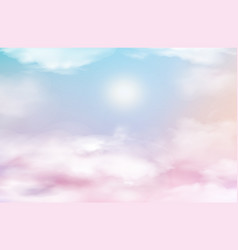 Pink sky heaven with clouds baby background vector