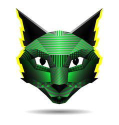 Polygonal creative cat drawing in pop art vector