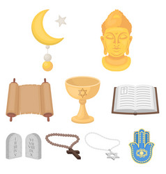 religion set icons in cartoon style big vector image