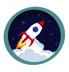 rocket launch in space startup or creative idea vector image