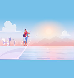 Romantic young family couple admiring sunset on vector