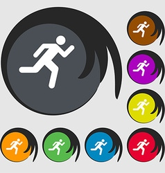 running man icon sign Symbol on eight colored vector image