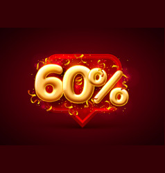 sale 60 off ballon number on red background vector image